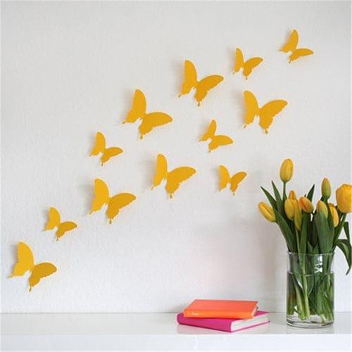 Set de mariposas amarillas 3d - Como hacer mariposas de papel para decorar paredes ...