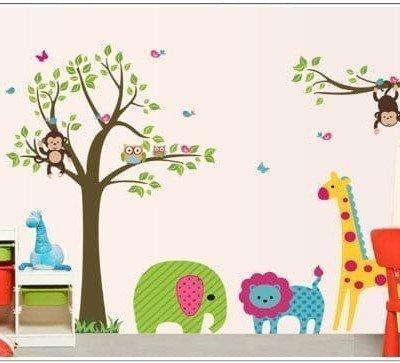 Vinilo de arbol con león, elefante y jirafa - tienda online de decoración