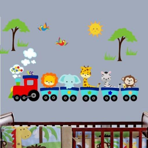 Vinilo de tren con animalitos - Vinilos infantiles animales ...