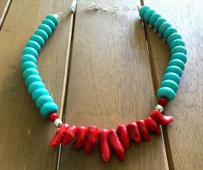 Collar turquesa y coral3