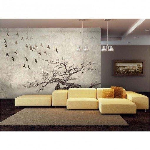 Foto mural pajaros y arbol