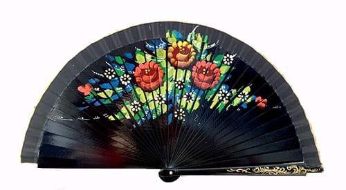 Abanico negro flores grandes regalos tienda online de decoración