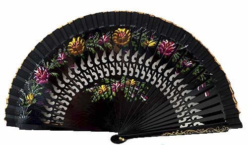 Abanico negro flores rosadas regalos tienda online de decoración