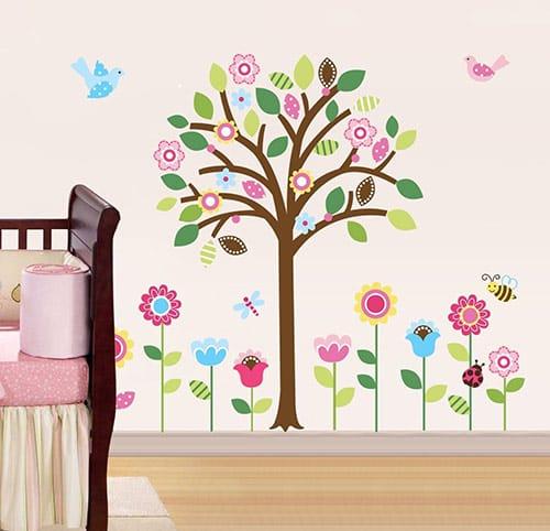 Vinilo de Arbol con flores
