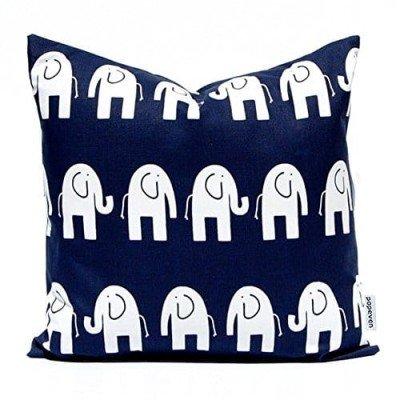 Funda de Cojin azul con elefantes