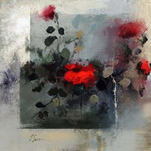Cuadro rosas abstracto