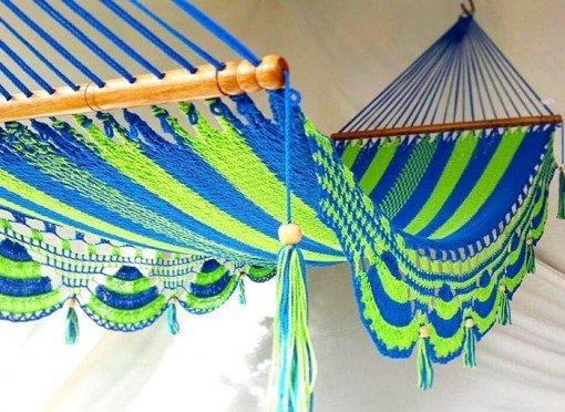 Hamaca de rayas azul y verde