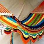 Hamaca multicolor borde azul