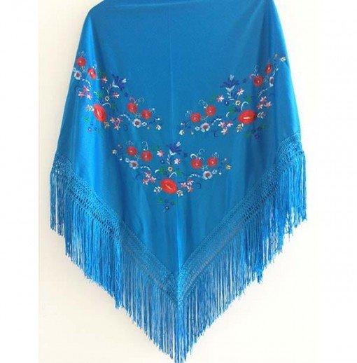 Mantón de algodón azul