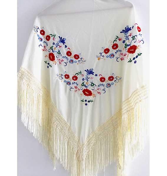 Mantón de algodón crema 1