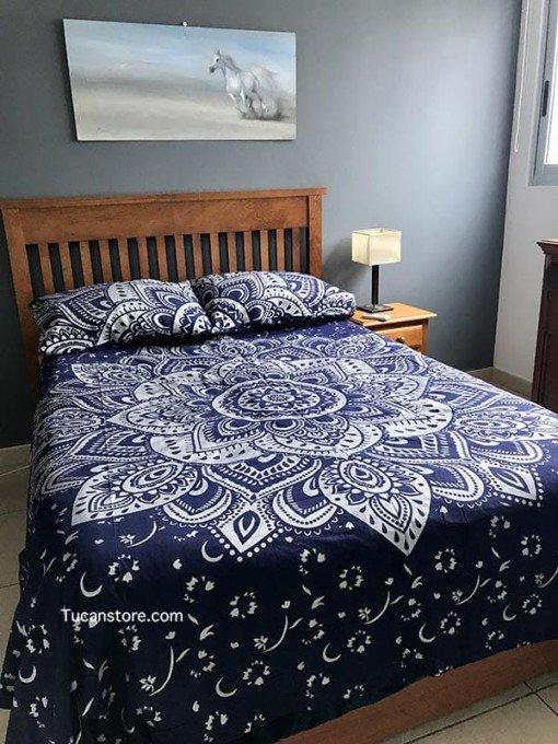 Duvet cover queen azul y plata tienda online de decoración
