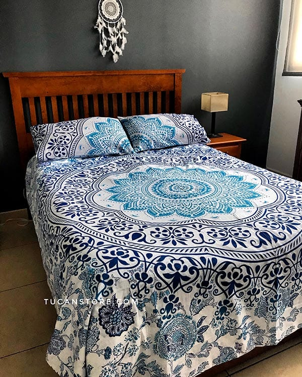 Duvet cover queen azul y celeste