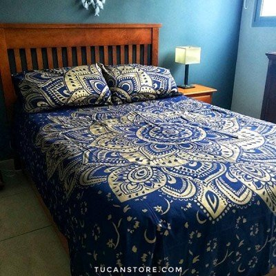 duvet cover azul y dorado queen tienda de decoración