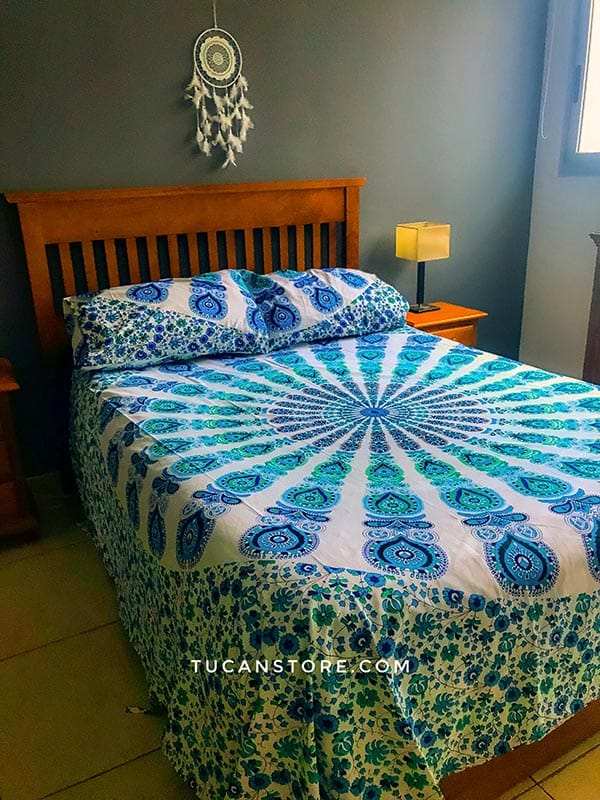 duvet cover king azul y verde