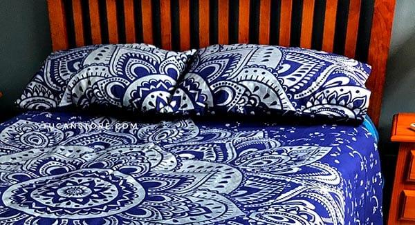 fundas de almohada azul y plateado - tienda de decoración