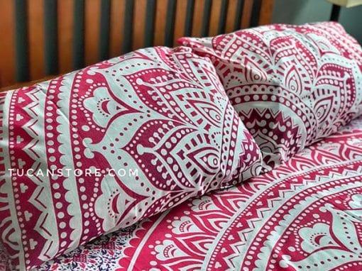 fundas de almohada naranja rosado tienda de decoración